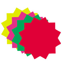 Star Shape Ultra Glo Fluorescent Price Cards