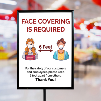 Face Covering Required Poster Sign - 22 X 28