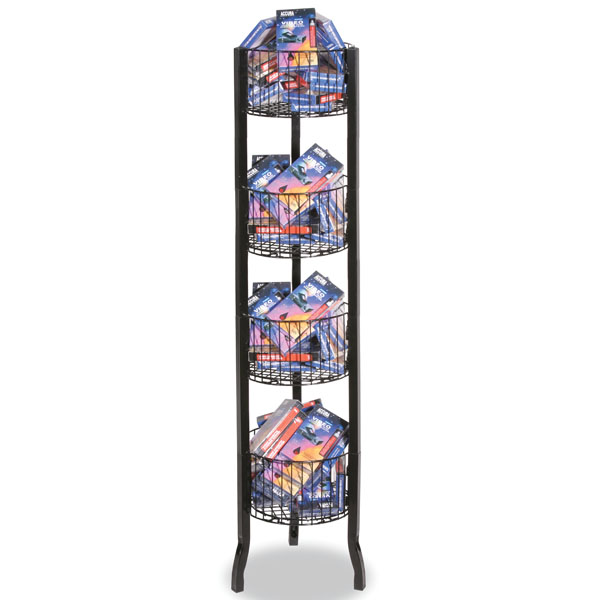 Black 4 Tier Round Wire Bin Dump Display