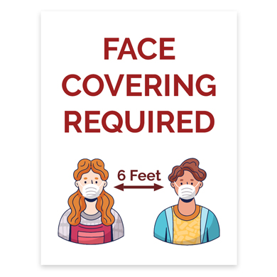 Face Covering Required Window Sign - 8.5 X 11