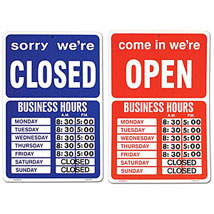 Double Sided Open Closed Sign With Numbers
