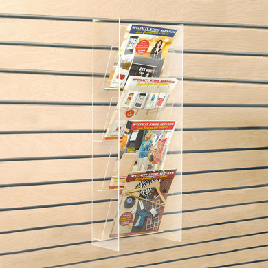 Four Pocket Acrylic Slatwall Display For Magazines & Literature