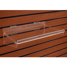 Acrylic Slatwall Shelf - 16 in. W x 10 in. D with 1/2 in. lip