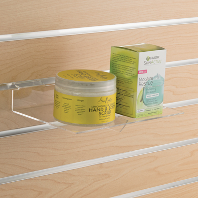 Acrylic Slatwall Shelf - 9 In. W X 6 In. D With Support Brace