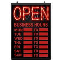 L E D Open Closed Sign With Hours