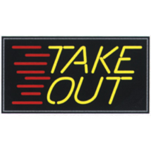 Take Out Neon Like Illuminated Sign