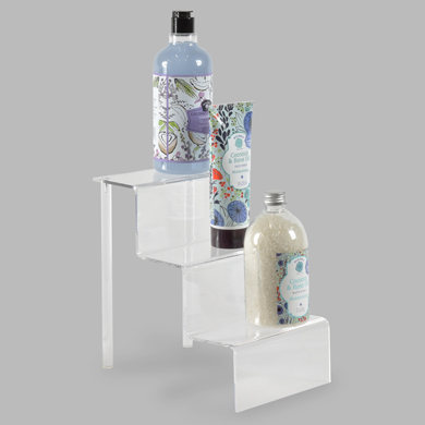 3-Tier Acrylic Step Riser Display - 6 Inch Wide