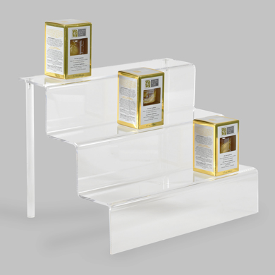 3-Tier Acrylic Step Riser Display - 12 Inch Wide