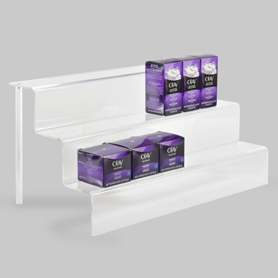 3-Tier Acrylic Step Riser Display - 18 Inch Wide