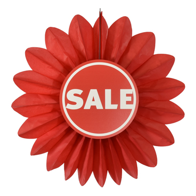 26.5 Inch Red Sale Paper Decorative Fan