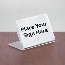 Acrylic Slanted Sign Holder - 3 1/2 In. W X 2 In. H