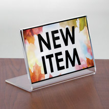 Acrylic Slanted Sign Holder - 5 in. W x 3 in. H