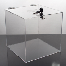 Locking Acrylic Ballot Box - 10 X 10 X 10 Lead Box