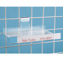 Acrylic Grid Shelf - 9 3/4 in. W x 4 in. D with 1 in. Sign Holder