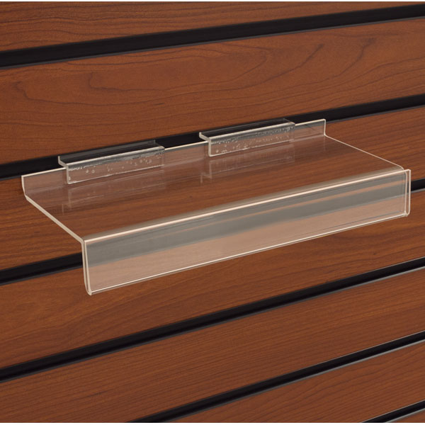 Acrylic Slatwall Shelf - 9 3/4 In. W X 4 In. D With 1 In. Sign Holder