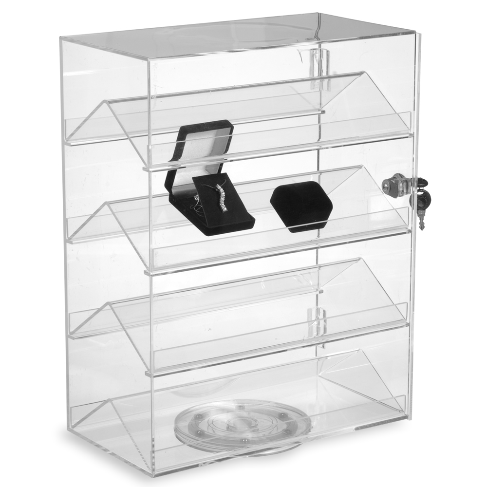 Small Countertop Display Case W/ 4 Double-Sided Shelves, Locking Door & Rotating Base