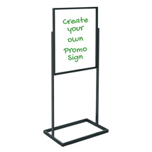 Premium Black Sign Holder with Write On Wipe Off Boards