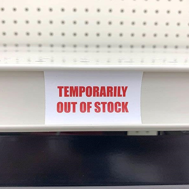 Out Of Stock Sign For Gondola Shelf Channels - 3200 Tags