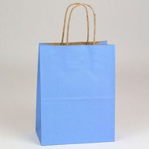 Country Blue Paper Shopping Bag- 8 x 4.75 x 10.5  - Box of 250