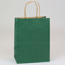 Forest Green Paper Shopping Bag- 8 X 4.75 X 10.5 - Box Of 250