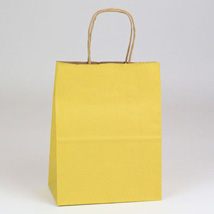 Yellow Paper Shopping Bag- 8 x 4.75 x 10.5 - Box of 250