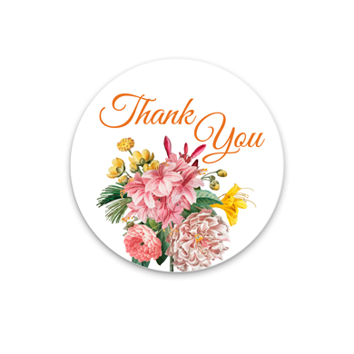 2 in. Circle Thank You Floral Sticker Labels - 500 per pack