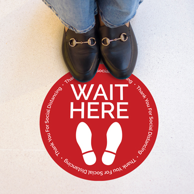 12 In. Circle Wait Here Floor Decal Social Distancing Sticker