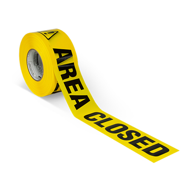 Yellow Area Closed Barricade Tape - 1000 Ft. Long