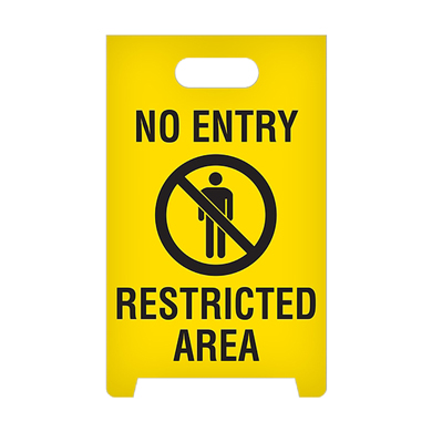 No Entry Restricted Area A-Frame Floor Standing Sign - Yellow