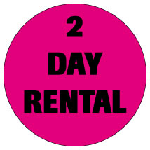 "2 Day Rental 3/4"" Labels"