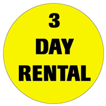 "3 Day Rental 3/4"" Labels"