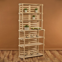 6 Shelf Wooden Tower Baker Rack