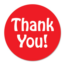 3/4 Inch Red Sticker Dot Label - THANK YOU