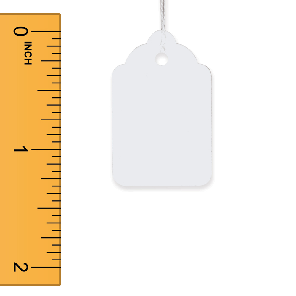 White Strung Merchandise Tags - 7/8 in. W x 1 5/16 in. H