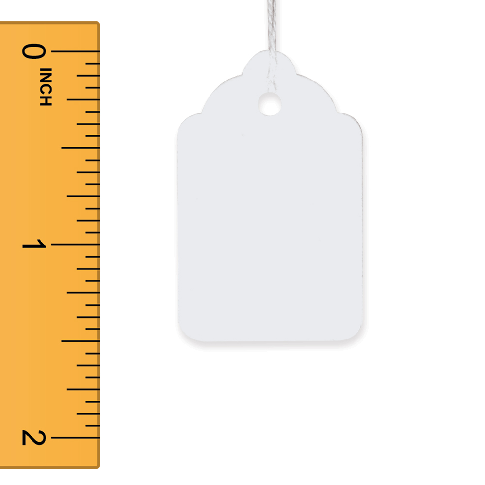 White Strung Merchandise Tags - 15/16 in. W x 1 1/2 in. H