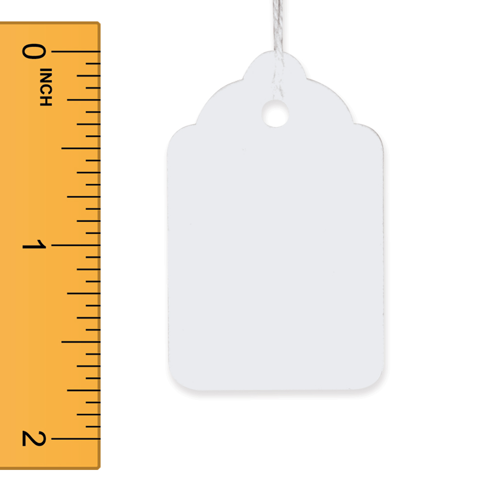 White Strung Merchandise Tags - 1 1/8 in. W x 1 3/4 in. H