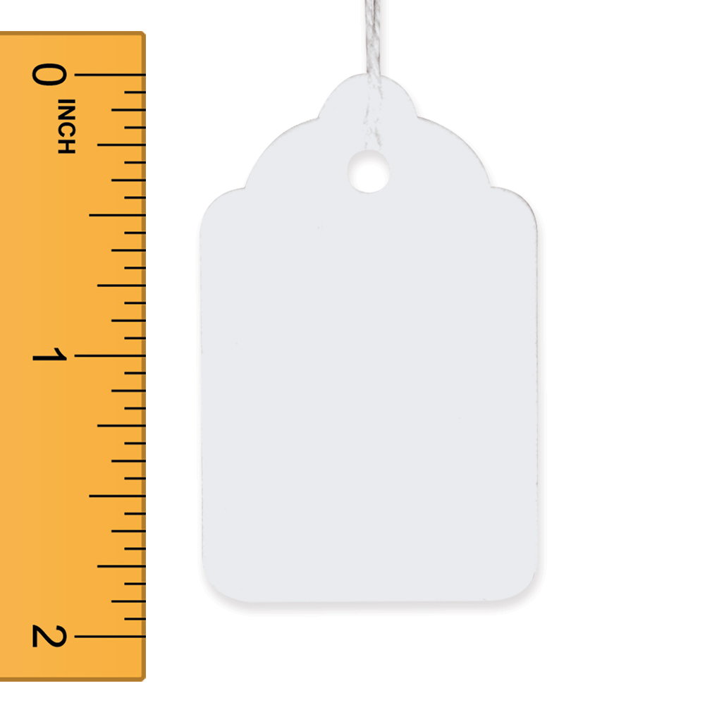 White Strung Merchandise Tags - 1 1/4 in. W x 1 7/8 in. H
