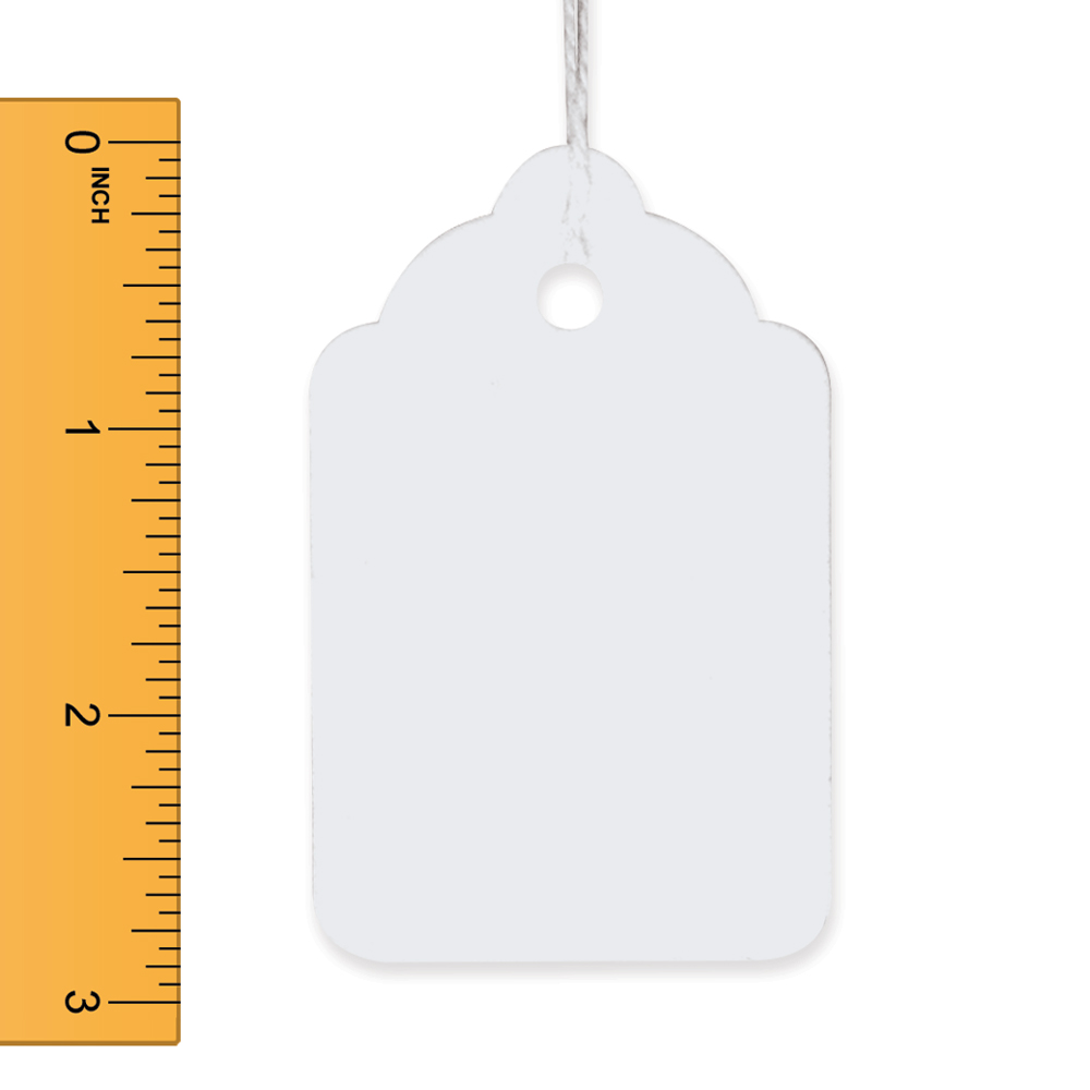 White Strung Merchandise Tags - 1 3/4 in. W x 2 7/8 in. H