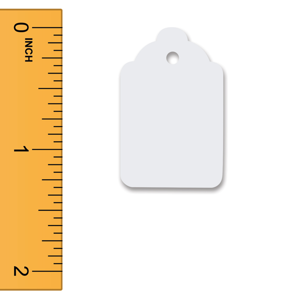 White Unstrung Merchandise Tags - 7/8 In. W X 1 5/16 In. H