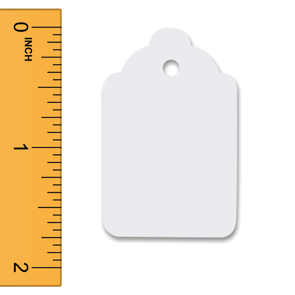 White Unstrung Merchandise Tags - 1 1/8 in. W x 1 3/4 in. H