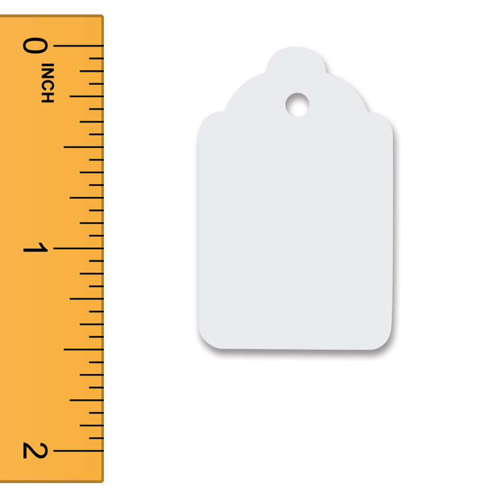 White Unstrung Merchandise Tags - 15/16 in. W x 1 1/2 in. H