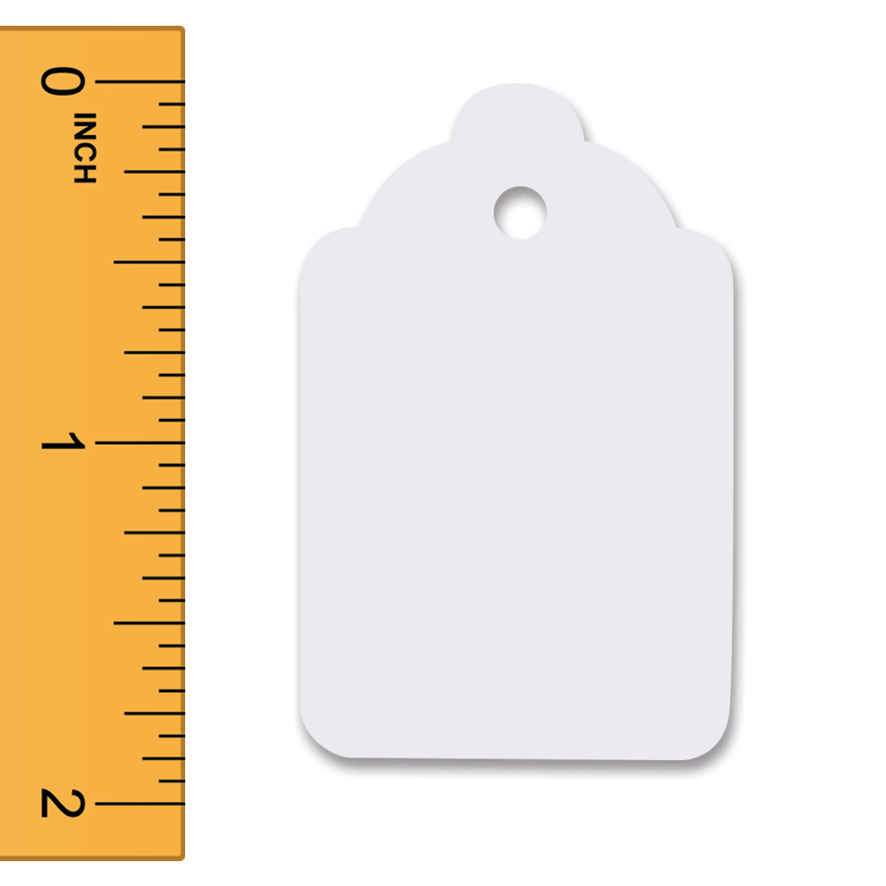 White Unstrung Merchandise Tags - 1 1/4 in. W x 1 7/8 in. H