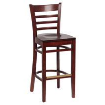 Ladder Back Hardwood Bar Stool Seat - Set Of 2 - Walnut Finish