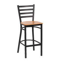 Black Metal Ladder Back Bar Stool - Set of 2 - Natural Finish Wood Seat