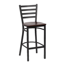 Black Metal Ladder Back Bar Stool - Set Of 2 - Walnut Finish Wood Seat