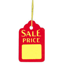 Red and Yellow Sale Price Tags with Strings - 1 1/8 in. W x 1 3/4 in. H
