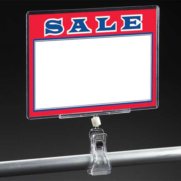 Clip On Sign Holder For 3 1/2 In. H X 5 1/2 In. W Sign