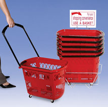 Plastic Rolling Shopping Basket Set Of 6 With Stand - Red