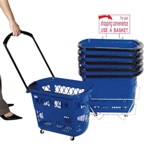 Plastic Rolling Shopping Basket Set of 6 with Stand - Blue