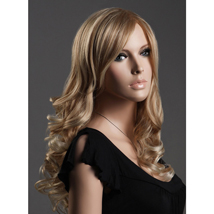 Blonde Long Curly Wavy Hair Female Wig With Bangs
